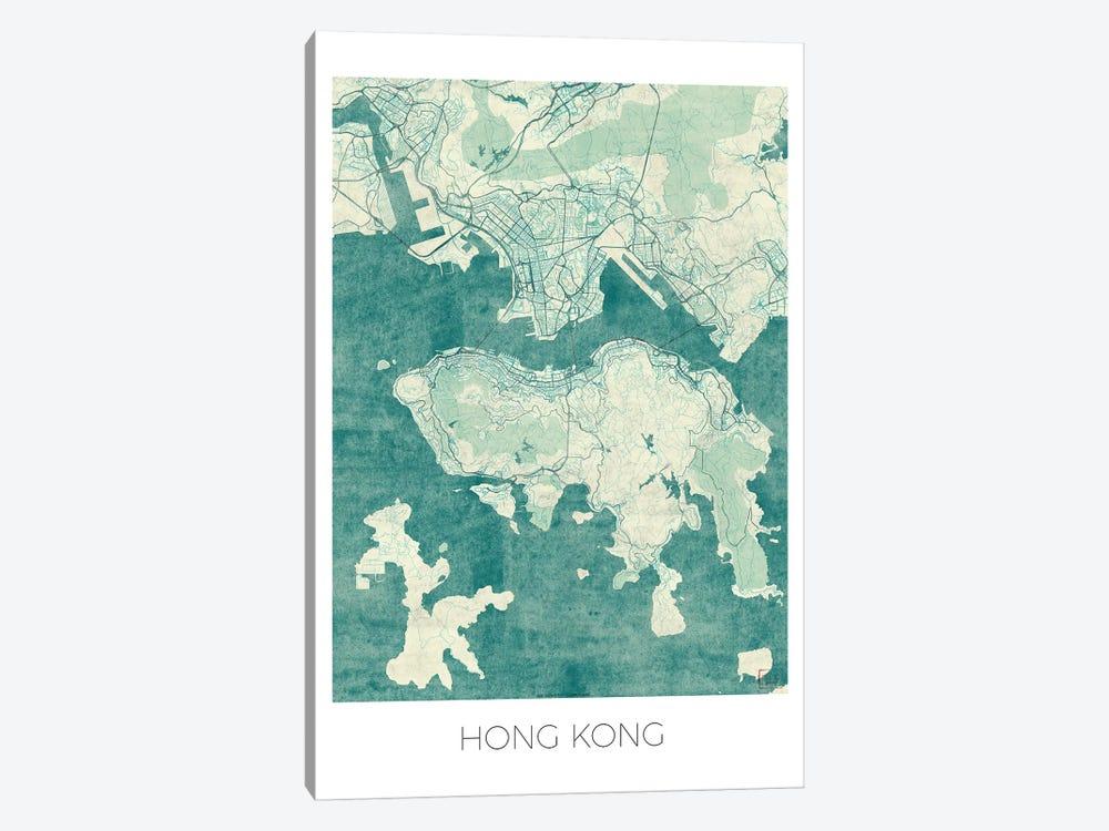 Hong Kong Vintage Blue Watercolor Urban Blueprint Map by Hubert Roguski 1-piece Canvas Art