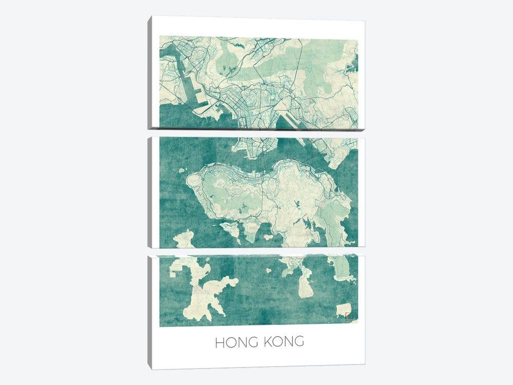 Hong Kong Vintage Blue Watercolor Urban Blueprint Map by Hubert Roguski 3-piece Canvas Art