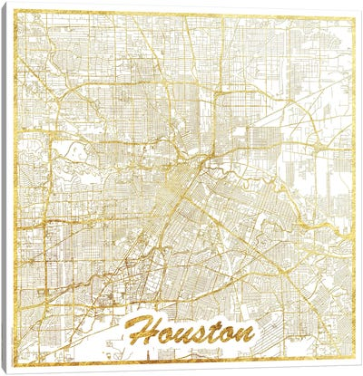 Houston Gold Leaf Urban Blueprint Map Canvas Art Print