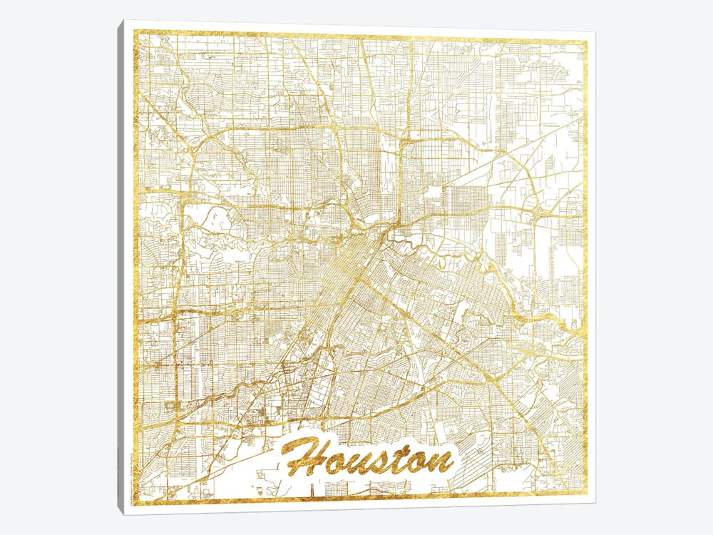 Houston Gold Leaf Urban Blueprint Map by Hubert Roguski 1-piece Canvas Art Print