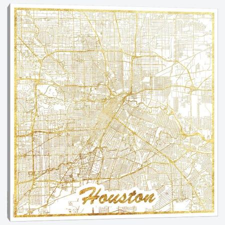 Houston Gold Leaf Urban Blueprint Map 3-Piece Canvas #HUR144} by Hubert Roguski Canvas Wall Art