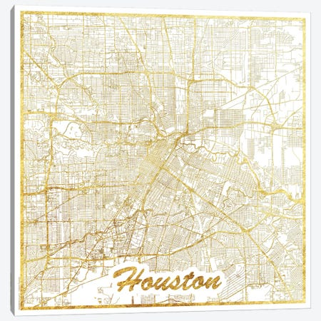 Houston Gold Leaf Urban Blueprint Map Canvas Print #HUR144} by Hubert Roguski Canvas Wall Art