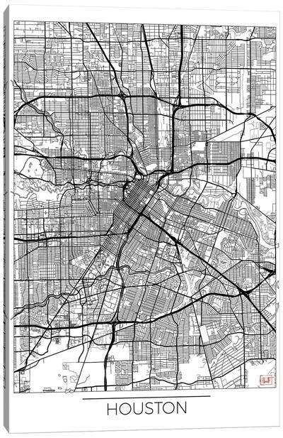 Houston Minimal Urban Blueprint Map Canvas Art Print
