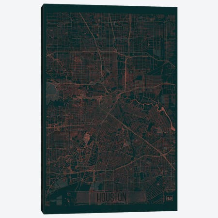 Houston Infrared Urban Blueprint Map Canvas Print #HUR146} by Hubert Roguski Canvas Art