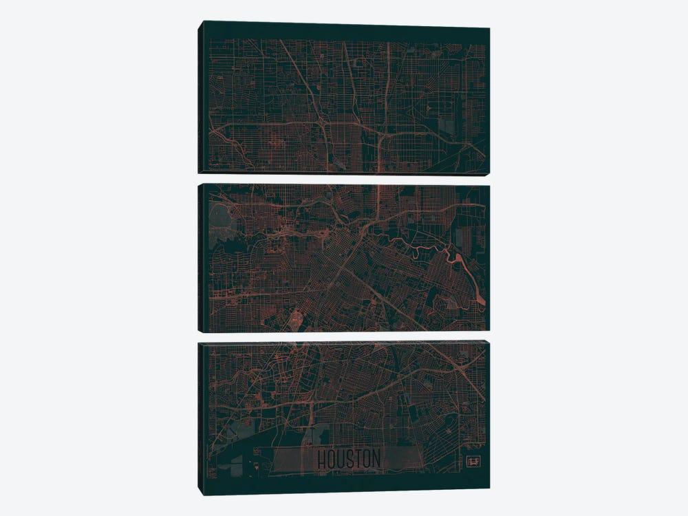 Houston Infrared Urban Blueprint Map by Hubert Roguski 3-piece Canvas Art Print