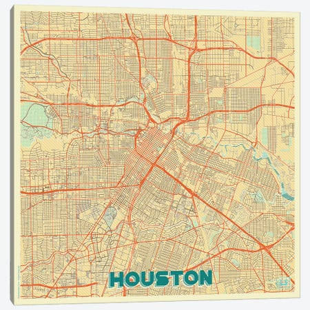 Houston Retro Urban Blueprint Map Canvas Print #HUR147} by Hubert Roguski Canvas Wall Art