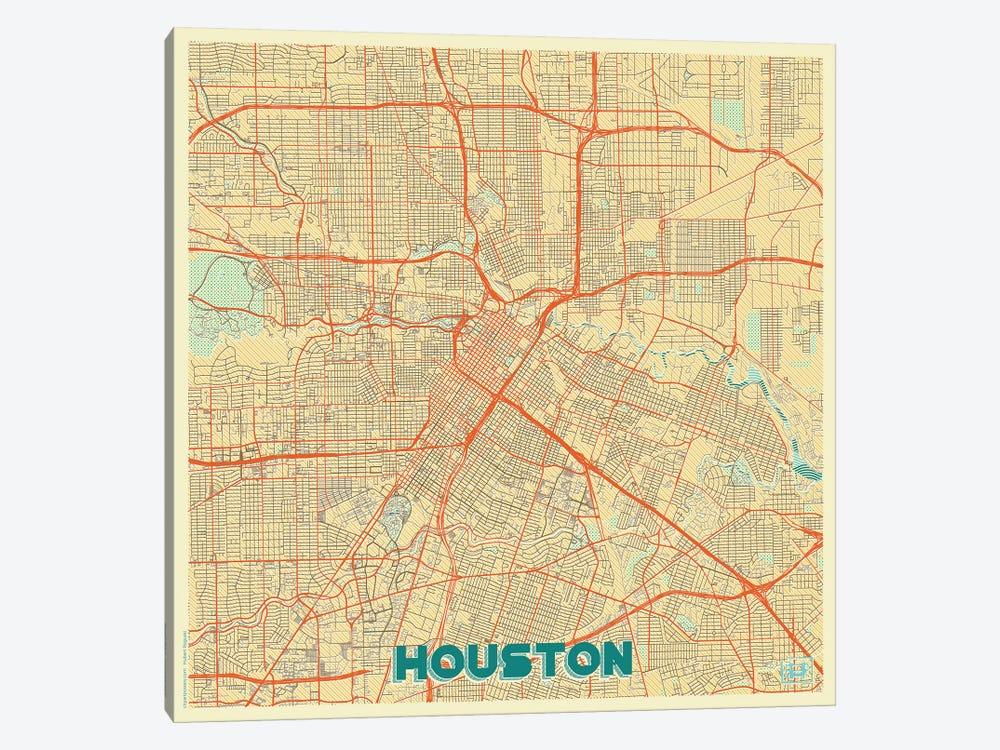 Houston Retro Urban Blueprint Map by Hubert Roguski 1-piece Canvas Art