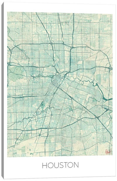 Houston Vintage Blue Watercolor Urban Blueprint Map Canvas Art Print