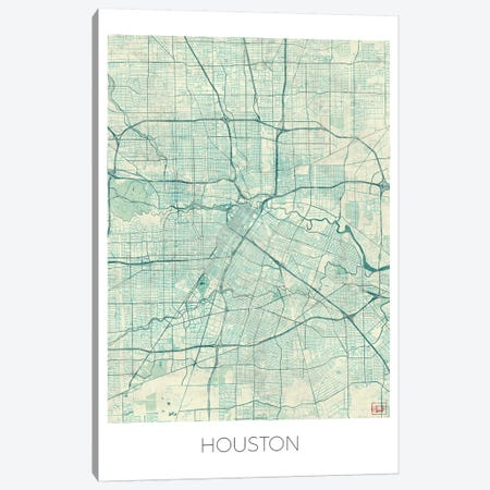 Houston Vintage Blue Watercolor Urban Blueprint Map Canvas Print #HUR148} by Hubert Roguski Canvas Art Print