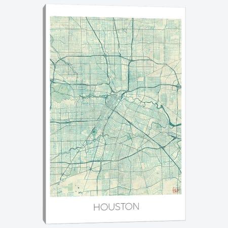 Houston Vintage Blue Watercolor Urban Blueprint Map Canvas Print #HUR148} by Hubert Roguski Canvas Art Print
