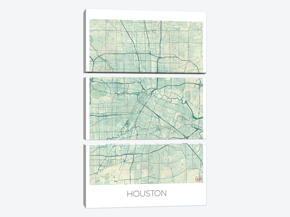 Houston Vintage Blue Watercolor Urban Blueprint Map by Hubert Roguski 3-piece Canvas Art Print