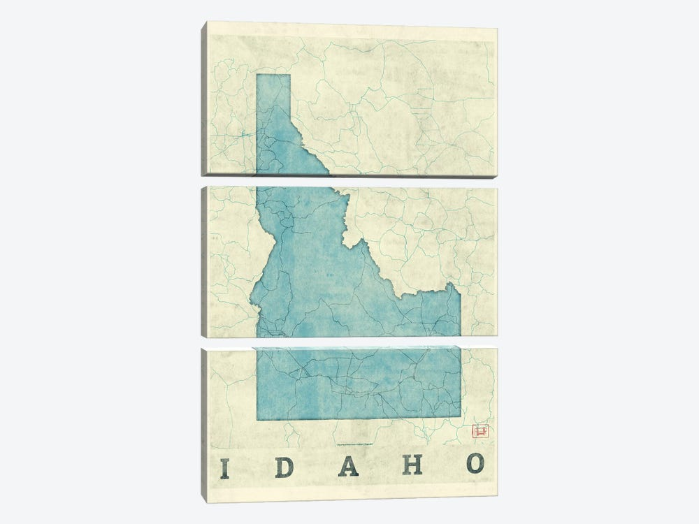 Idaho Map by Hubert Roguski 3-piece Canvas Artwork