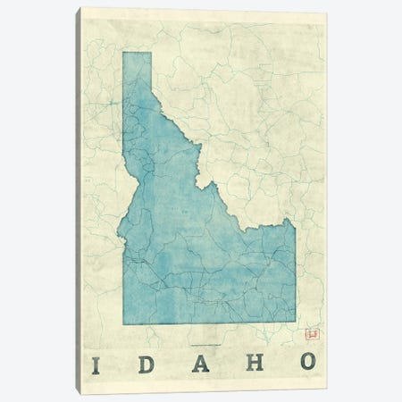 Idaho Map Canvas Print #HUR149} by Hubert Roguski Canvas Art Print