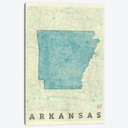 Arkansas Map Canvas Print #HUR14} by Hubert Roguski Art Print