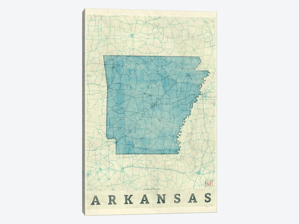 Arkansas Map by Hubert Roguski 1-piece Canvas Print