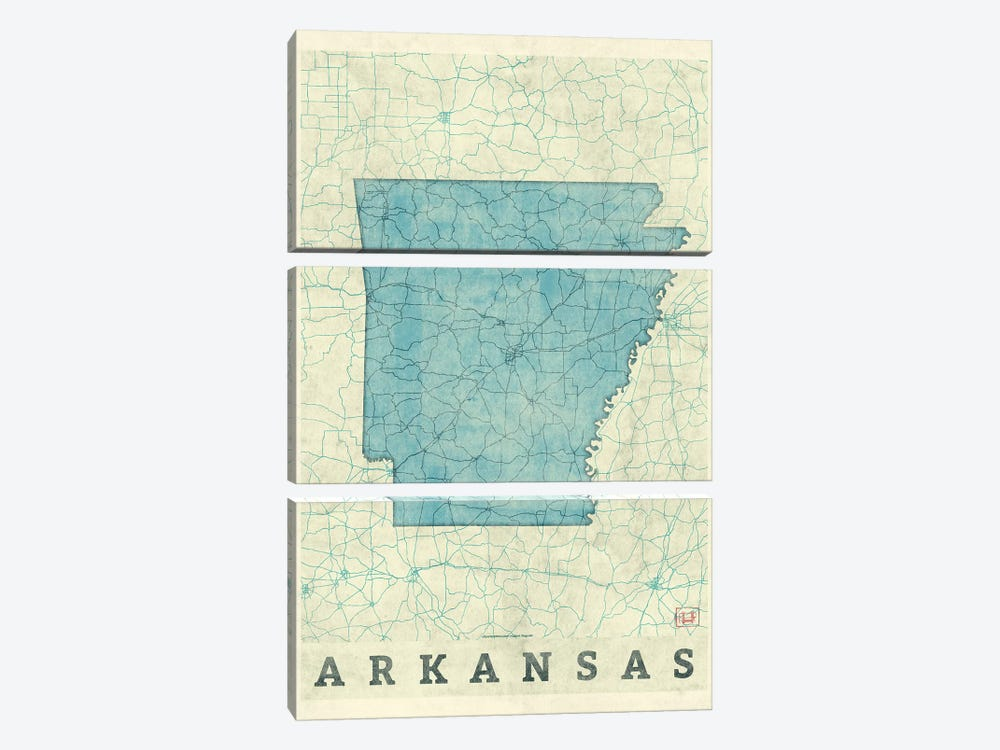 Arkansas Map by Hubert Roguski 3-piece Canvas Art Print