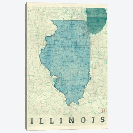 Illinois Map Canvas Print #HUR150} by Hubert Roguski Canvas Artwork