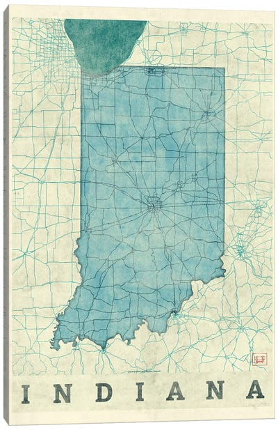 Indiana Map Canvas Art Print