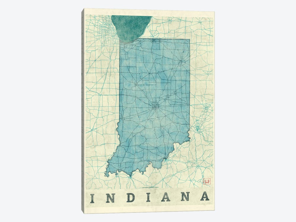 Indiana Map by Hubert Roguski 1-piece Canvas Print