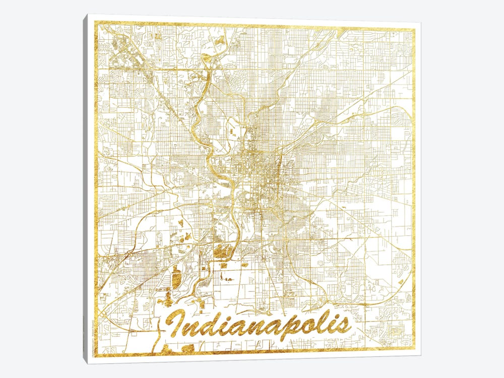 Indianapolis Gold Leaf Urban Blueprint Map by Hubert Roguski 1-piece Canvas Art