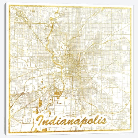 Indianapolis Gold Leaf Urban Blueprint Map 3-Piece Canvas #HUR152} by Hubert Roguski Canvas Artwork