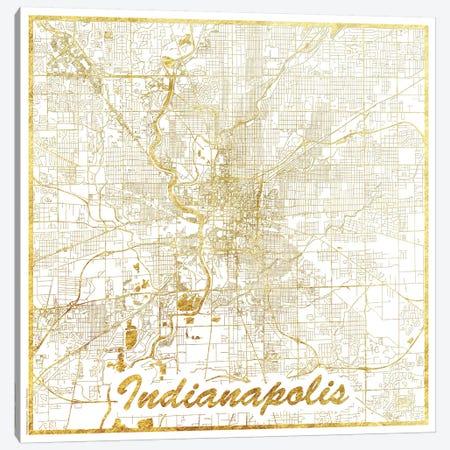 Indianapolis Gold Leaf Urban Blueprint Map Canvas Print #HUR152} by Hubert Roguski Canvas Artwork