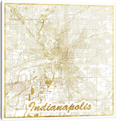 Indianapolis Gold Leaf Urban Blueprint Map Canvas Art Print
