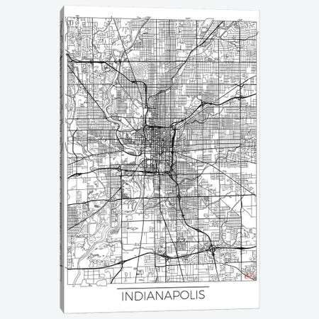 Indianapolis Minimal Urban Blueprint Map 3-Piece Canvas #HUR153} by Hubert Roguski Canvas Art