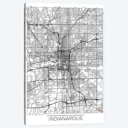 Indianapolis Minimal Urban Blueprint Map Canvas Print #HUR153} by Hubert Roguski Canvas Art