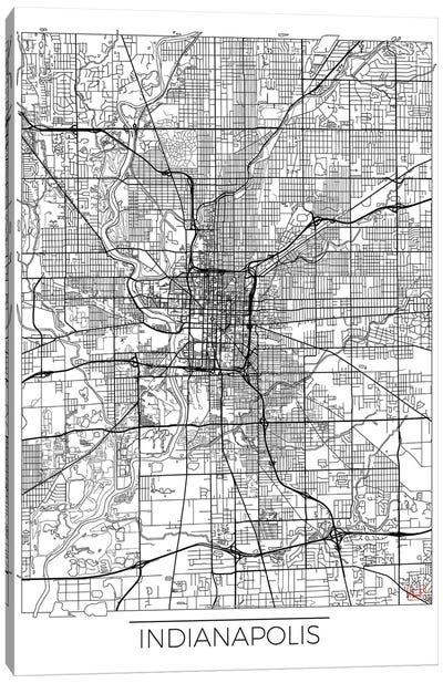 Indianapolis Minimal Urban Blueprint Map Canvas Art Print