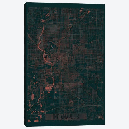 Indianapolis Infrared Urban Blueprint Map Canvas Print #HUR154} by Hubert Roguski Canvas Art Print