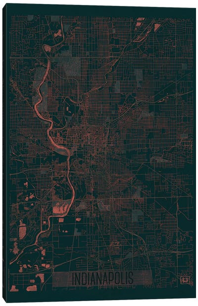 Indianapolis Infrared Urban Blueprint Map Canvas Art Print