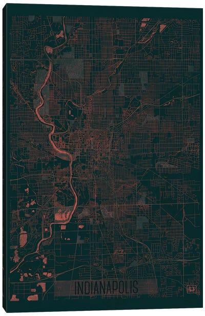 Indianapolis Infrared Urban Blueprint Map Canvas Art Print