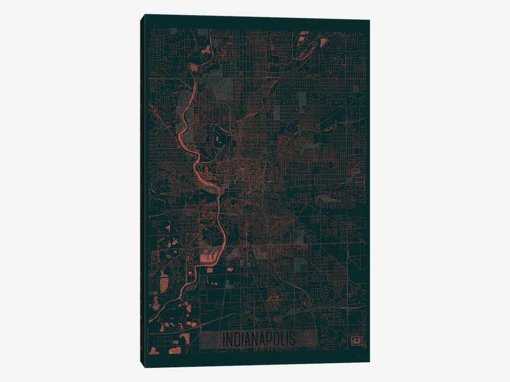 Indianapolis Infrared Urban Blueprint Map by Hubert Roguski 1-piece Canvas Art