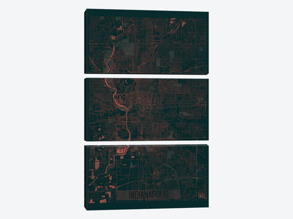 Indianapolis Infrared Urban Blueprint Map by Hubert Roguski 3-piece Canvas Art