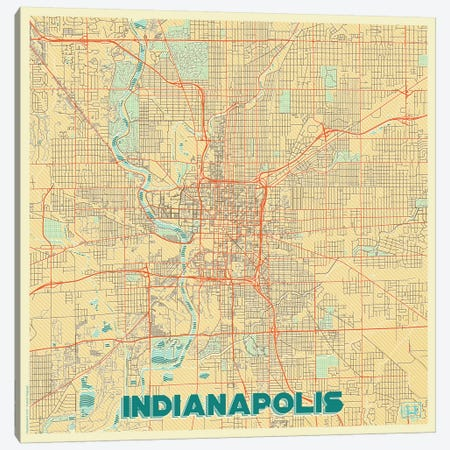 Indianapolis Retro Urban Blueprint Map 3-Piece Canvas #HUR155} by Hubert Roguski Canvas Art Print