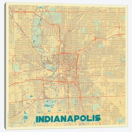 Indianapolis Retro Urban Blueprint Map Canvas Print #HUR155} by Hubert Roguski Canvas Art Print