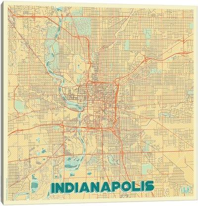 Indianapolis Retro Urban Blueprint Map Canvas Art Print
