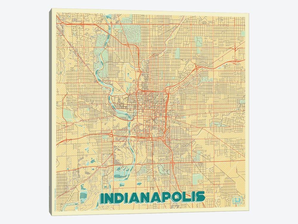 Indianapolis Retro Urban Blueprint Map by Hubert Roguski 1-piece Canvas Art Print