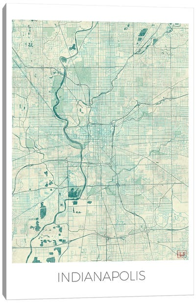 Indianapolis Vintage Blue Watercolor Urban Blueprint Map Canvas Art Print