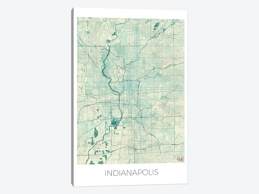 Indianapolis Vintage Blue Watercolor Urban Blueprint Map by Hubert Roguski 1-piece Canvas Artwork