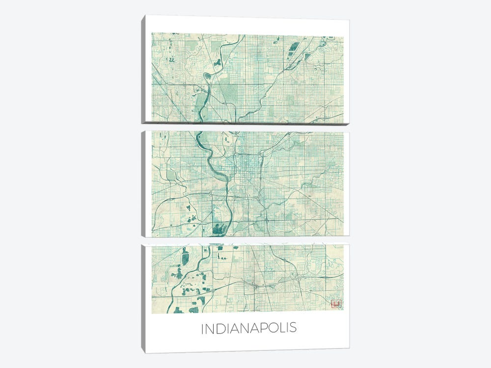 Indianapolis Vintage Blue Watercolor Urban Blueprint Map by Hubert Roguski 3-piece Canvas Art