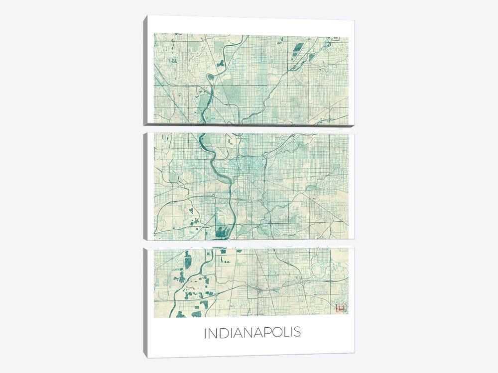 Indianapolis Vintage Blue Watercolor Urban Blueprint Map by Hubert Roguski 3-piece Canvas Art