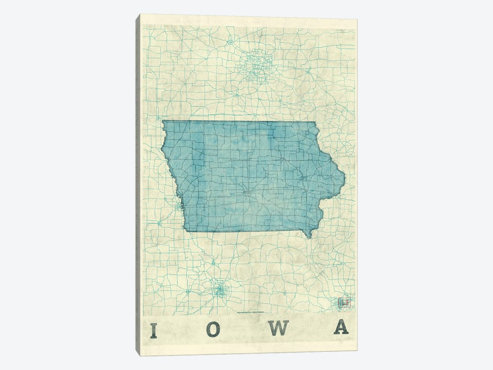 Iowa Map by Hubert Roguski 1-piece Art Print