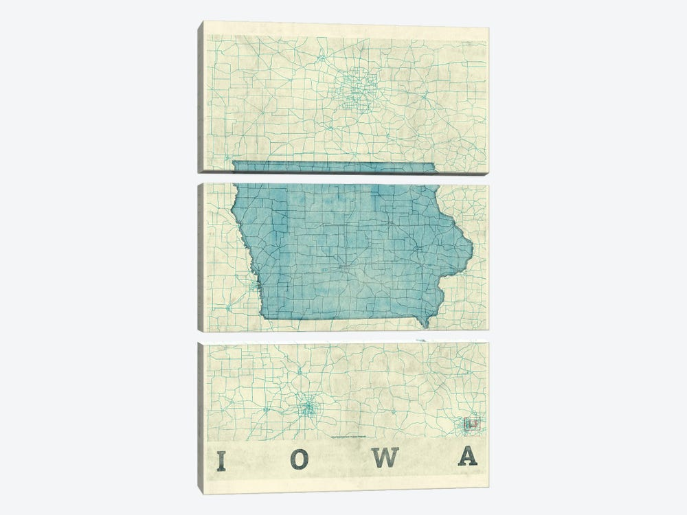 Iowa Map by Hubert Roguski 3-piece Art Print