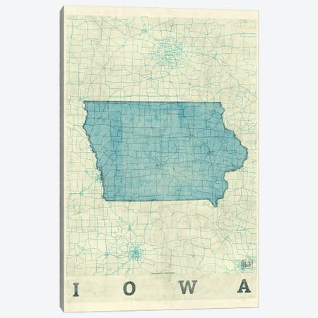 Iowa Map Canvas Print #HUR157} by Hubert Roguski Canvas Art Print