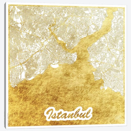 Istanbul Gold Leaf Urban Blueprint Map Canvas Print #HUR158} by Hubert Roguski Canvas Art