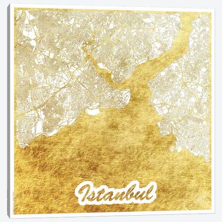 Istanbul Gold Leaf Urban Blueprint Map 3-Piece Canvas #HUR158} by Hubert Roguski Canvas Art
