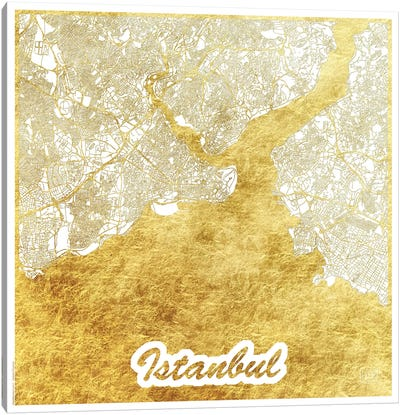 Istanbul Gold Leaf Urban Blueprint Map Canvas Art Print