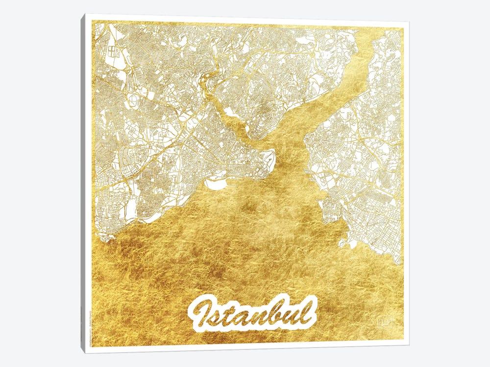 Istanbul Gold Leaf Urban Blueprint Map by Hubert Roguski 1-piece Canvas Artwork